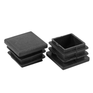 NHBR Hard Plastic Pipe Flat End Inserted Tube Table LEG End Plug 10 pieces Black 20mm x 20mm