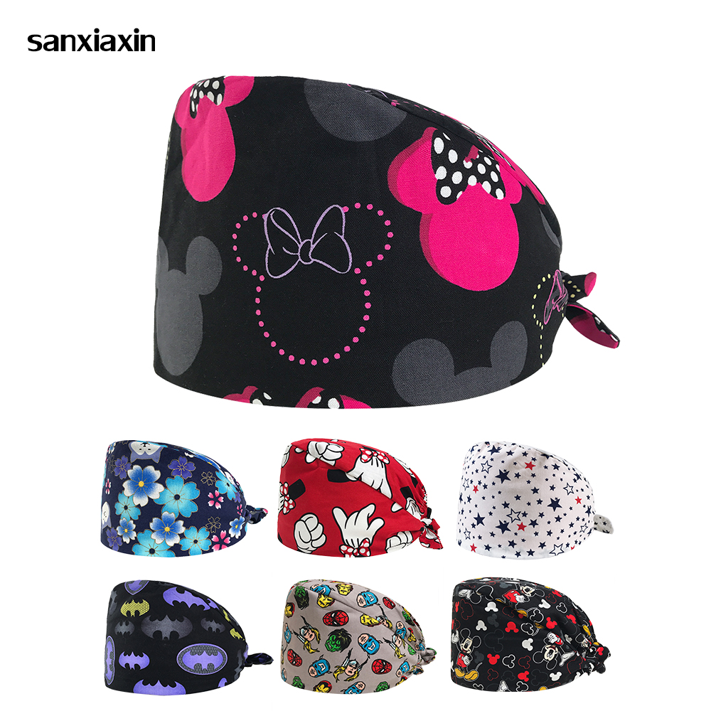 New Women's Doctor Scrub Caps Cartoon Print Surgical Adjustable Hats For Femme Workwear Cap Long Hair Cotton Scrub Surgical Caps
