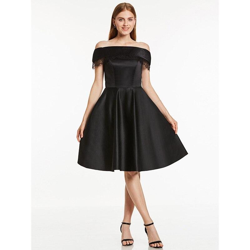 Dressv Off The Shoulder Cocktail Dress Red Knee Length A Line Zipper Up Homecoming Short Cocktail Dresses