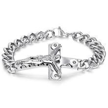 цена на Punk Jesus Cross Bracelets Silver Stainless Steel Bracelets Men Jewelry Male Charm Bangle Hand Chain Man Wristband