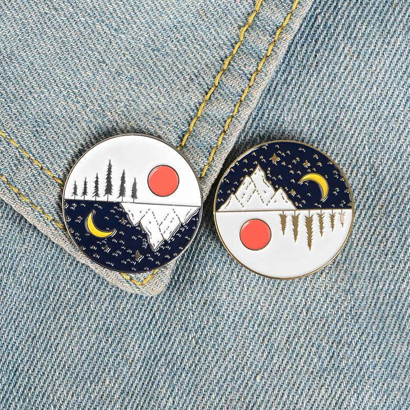 Значки с героями мультфильмов Луна солнце Броши для женщин творческие день и ночь шпильки ювелирные изделия лацкан булавка эмаль значки на рюкзак сумка аксессуары