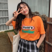 2019 Women's Casual Round Neck Letter Print Short Sleeve Loose Pullover Cotton Simple T-Shirt casual letter print round neck t shirt pants twinset for kids