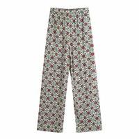 Pantalones casuales rectos con estampado de flores para mujer, pantalón holgado y cómodo con cintura elástica, P2196, gran oferta