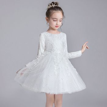 Autumn Winter New Princess Flower Girl Wedding Party Bridesmaid Group Dress Girl Birthday Party Dinner Party Long Sleeve Dress