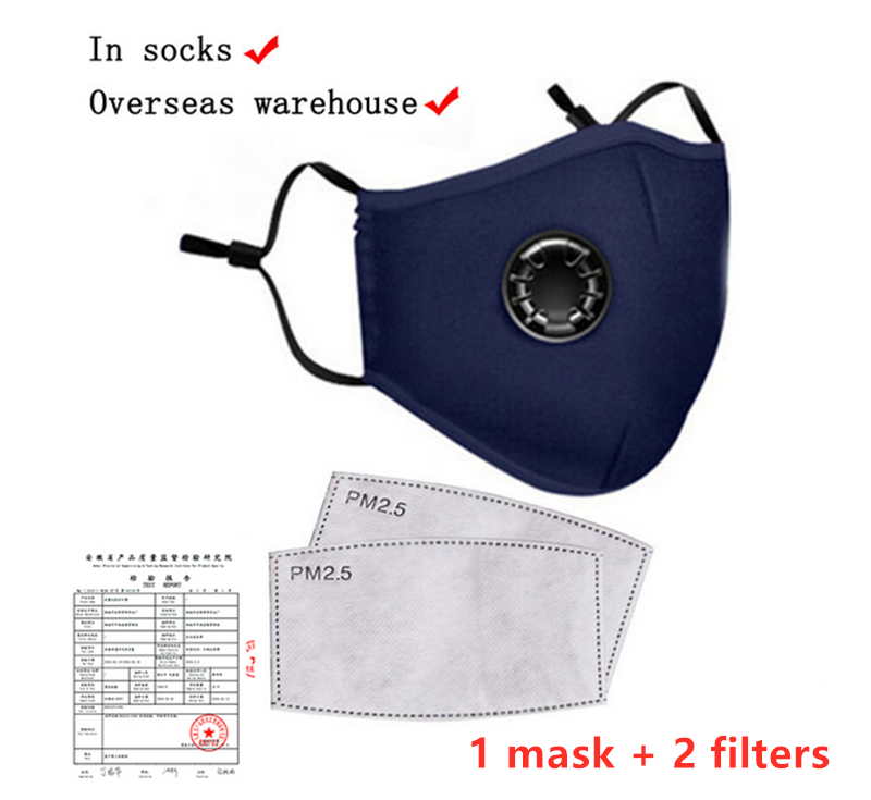 Washable Cotton Mouth Face Mask Reusable Cover Respirator Anti-Dust Mask With 2 PM2.5 Filters Protective Mask Dust Mask