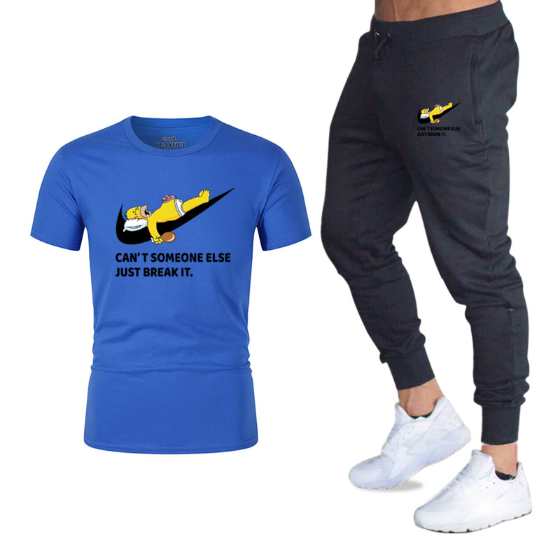Brand Sports And Leisure Men's Suit High-quality Cotton Fitness Short-sleeved T-shirt + Jogging Sports Pants
