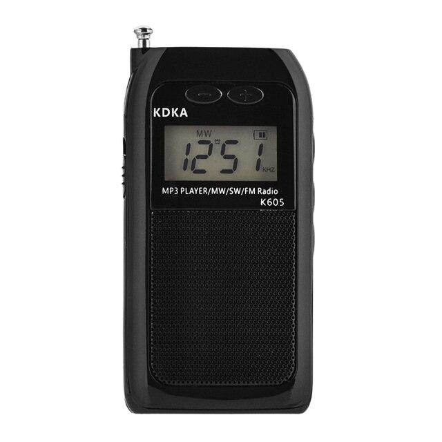 K605 mini bolso rádio fm am sw mw sintonização digital receptor de rádio mp3 player música onda média/onda curta/fm rádio estéreo