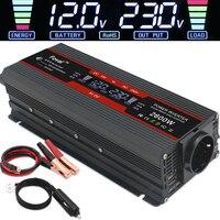 Inversor de corriente de onda sinusoidal modificada, transformador para coche con pantalla LCD, CC 12V a CC 220V Solar 2 USB, convertidor enchufe europeo, 1500W/2000W/2600W