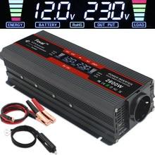 Onduleur électrique solaire 1500 W/2000 W/2600 W, 2 prises USB et UE, transformateur d'onde sinusoïdale, convertisseur de tension pour batterie de voiture, 12V à 220V ac, affichage LCD