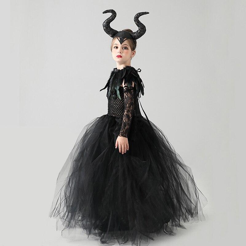 Kids Black Devil Tutu Costume Gothic Halloween Girls Fancy Tutu Dress with Feather Shawl Royal Dark Queen Maleficent Gown Dress (10)