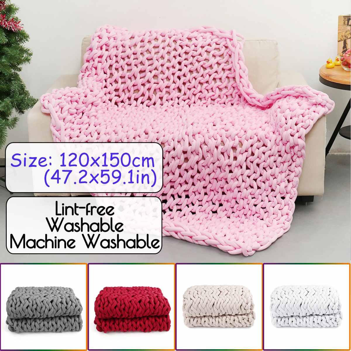 120x150 см вязаное одеяло для дивана ручной работы, мягкое теплое толстое Хлопковое одеяло, зимнее элегантное уютное теплое постельное белье - 6
