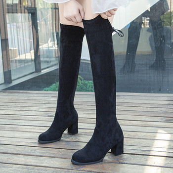 shoes woman fashion boots women  Women's Leisure Solid Large Size Over Knee Boots Lace Up Long Boots Socks Shoes