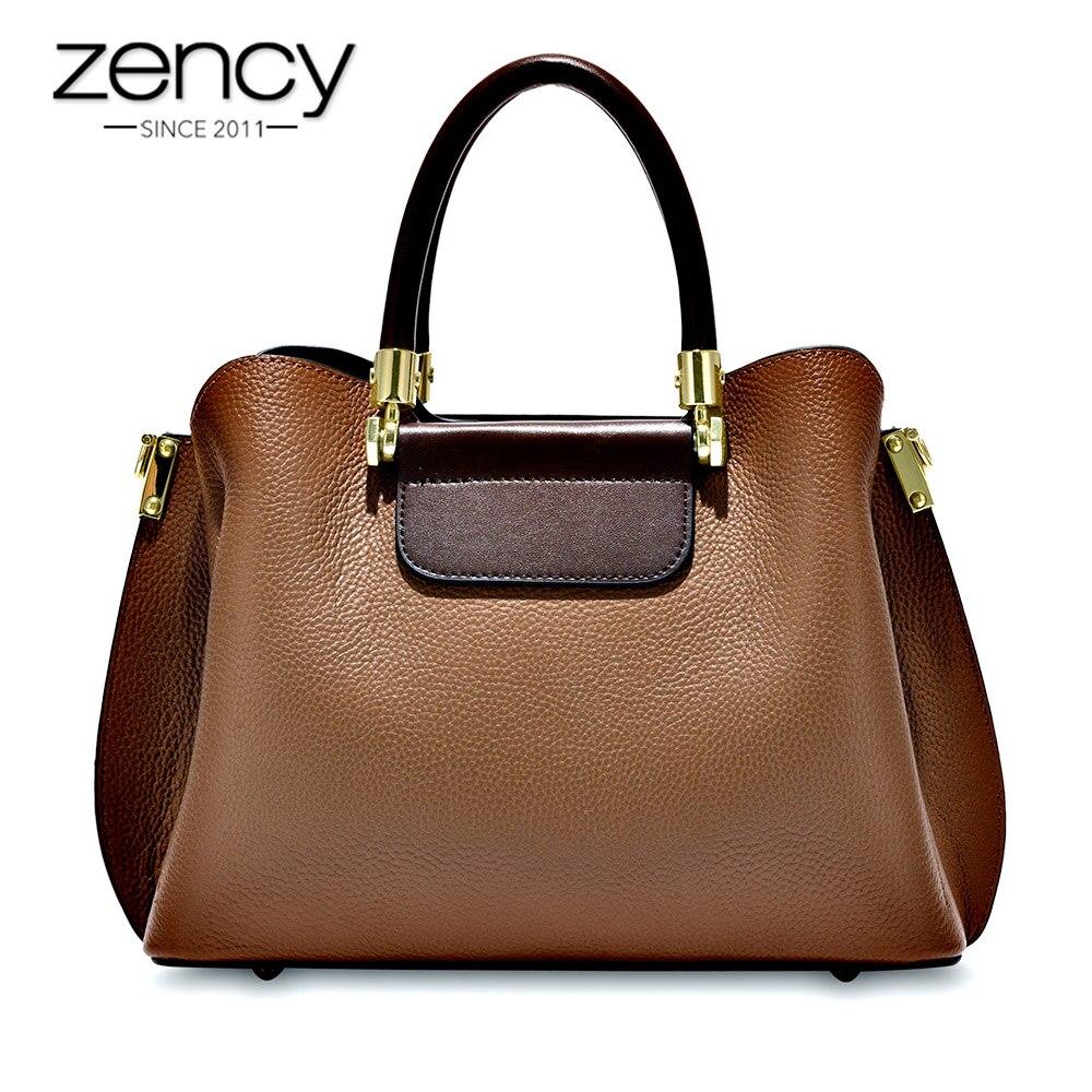 Zency مكتب سيدة حقيبة يد 100% جلد طبيعي أزياء البني الإناث Crossbody رسول محفظة سعة كبيرة حقائب كتف-في حقائب قصيرة من حقائب وأمتعة على  مجموعة 1