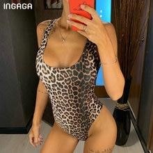 INGAGA Leopard Swimwear Women High Cut One Piece Swimsuit Fused Push Up Beachwear Sexy U-back Swimsuits 2019 New Bodysuit crab print u back bodysuit