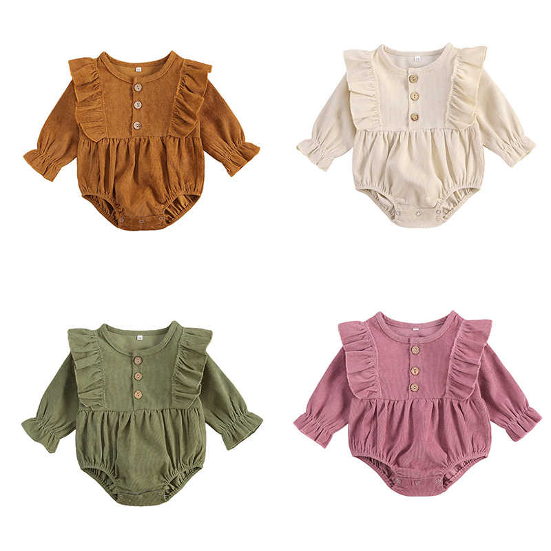 Infant Newborn Baby Girls Corduroy Bodysuits Ruffled Long Sleeve Jumpsuits Solid Spring Autumn Outfits