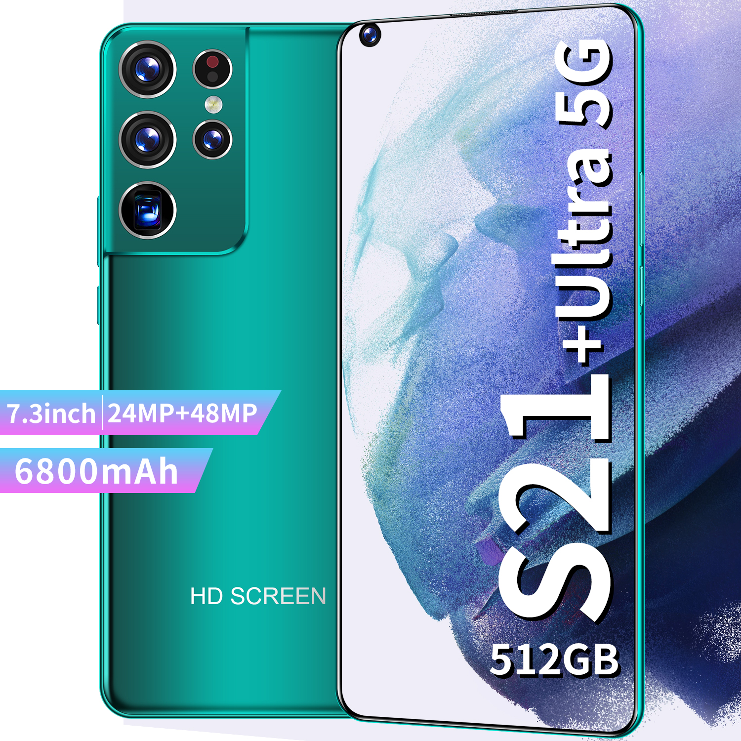 2021 S21 Utra 7.3 Inch Full Screen Smartphone Global Version 12G 512GB Android 10 GPS Cellphone Unlocked Dual SIM Mobile Phone