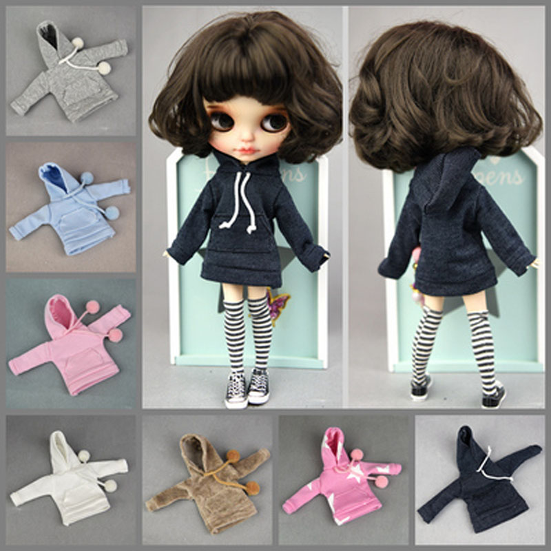 Doll Fashion Handmade Hoodie For Blyth 1/6 BJD Doll Sweatshirt Outfits, Russian DIY Girl's Toy Clothes Accessories