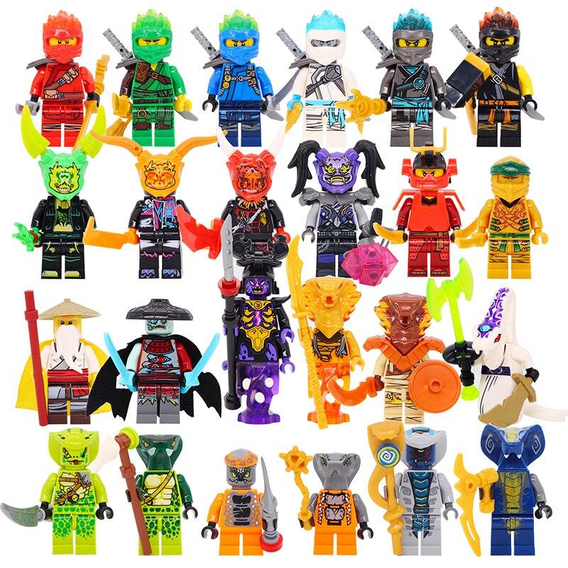 HOT 24pcs Action Toys Figure Legoed Ninjagoes Kai Jay Cole Zane Nya Lloyd Weapons Ninjagoes Figures Building Blocks Bricks Toys