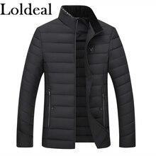 Loldeal Fashion Jackets Parka Quality Autumn Winter Warm Outwear Slim Mens Coats Casual Windbreak