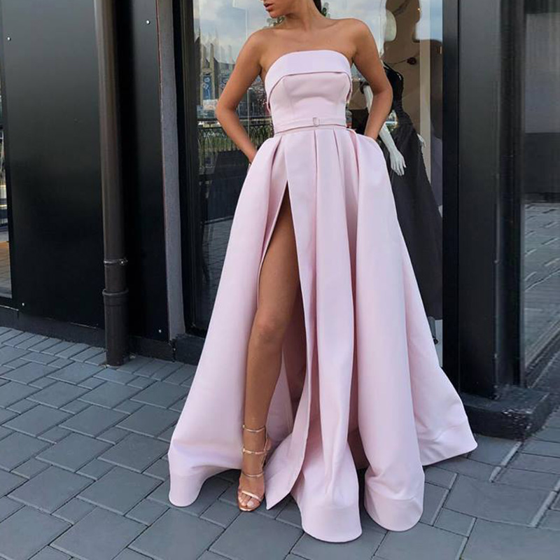 New Arrival Evening Prom Party Dresses Vestido De Festa Gown Robe De Soiree Pink Satin Sexy Strapless Long Gown Formal Dress