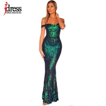 Vestido de verano largo Sexy con lentejuelas de IDress, vestido elegante de fiesta de noche con hombros descubiertos, Vestido largo de mujer 2020, vestido Maxi ajustado Sexy