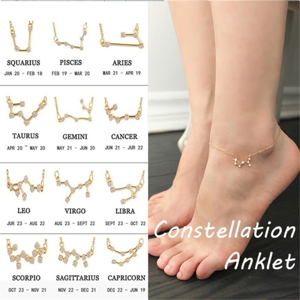 Fashion Name Anklets For Women Constellation Shape Stainless Steel Leg Chain Female Ankle Bracelet Foot Jewelry