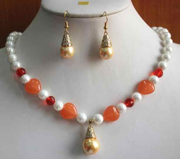 真珠セット卸売 8 ミリメートル混合色と素材ホワイト/赤シェル梨/石のネックレス + 14 ミリメートル黄色真珠の耳送料無料