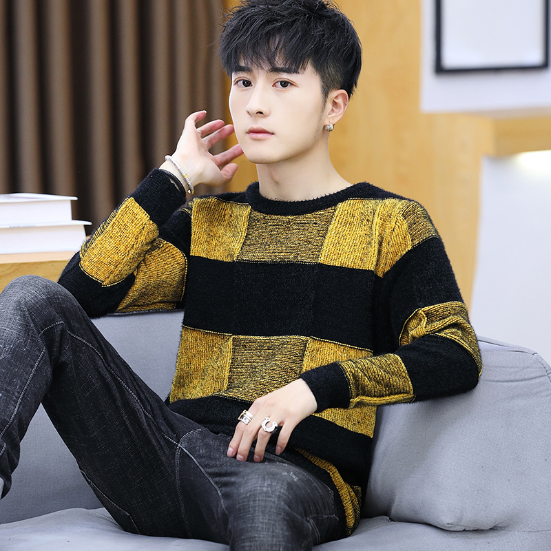 2020 New Men Fall Stripe Square Round Neck Long Sleeve Sweater Youth Handsome Leisure Base Sweater