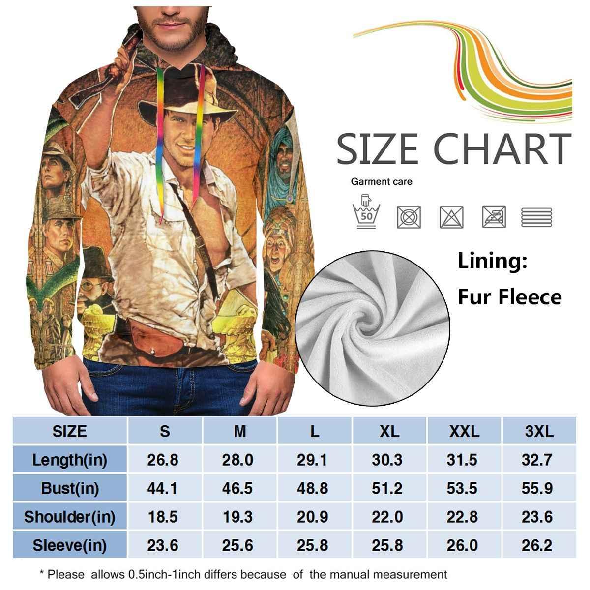 Индиана Джонс Толстовка Raiders Of The Lost Ark толстовки уличная полиэстер пуловер худи синие Зимние толстовки