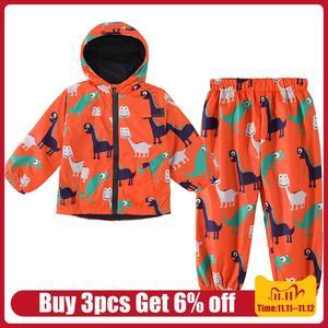 Image 1 - ילדי בגדים 2020 סתיו חורף בני בגדי דינוזאור מעיל + מכנסיים תלבושת ילדים בגדי ילד חליפת ספורט בני בגדים סטים