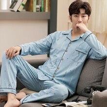 Плюс размер 5XL Повседневный полосатый хлопок пижама комплекты для мужчин длинный рукав длинные брюки одежда для сна пижама пижама принт пижама Hombre Invierno