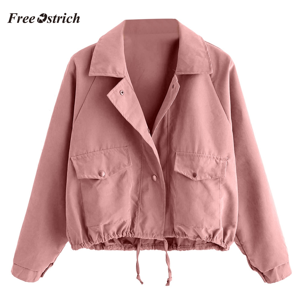 Free Ostrich Women Coat Women Autumn Fashion Short Pink Button Coat Pocket Jacket Cardigan 2020 dropshipping O.29
