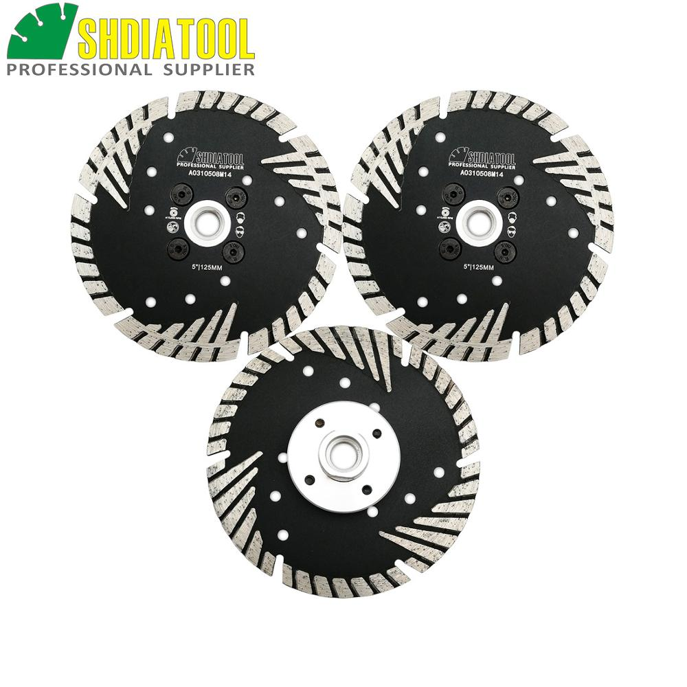 SHDIATOOL 3pcs M14 Thread 5 125MM Diamond Turbo Blade Cutting Disc Granite Marble Concrete Sawblade Slant