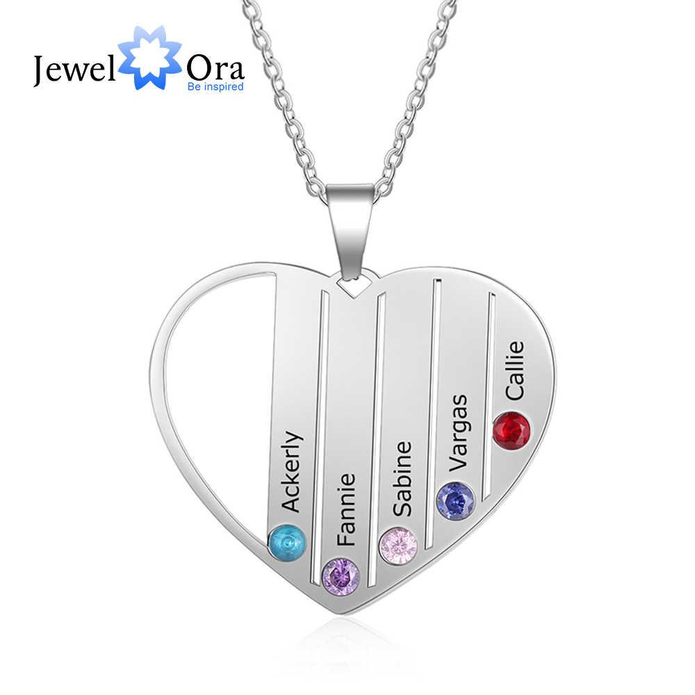 ส่วนบุคคลสร้อยคอหัวใจ 5 Birthstones ชื่อแกะสลักที่กำหนดเองแม่เด็กสร้อยคอครอบครัวของขวัญ (JewelOra NE103267)