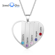 Personalized Heart Necklace with 5 Birthstones Custom Engraved Name Mother Kids Necklace Family Gift (JewelOra NE103267)