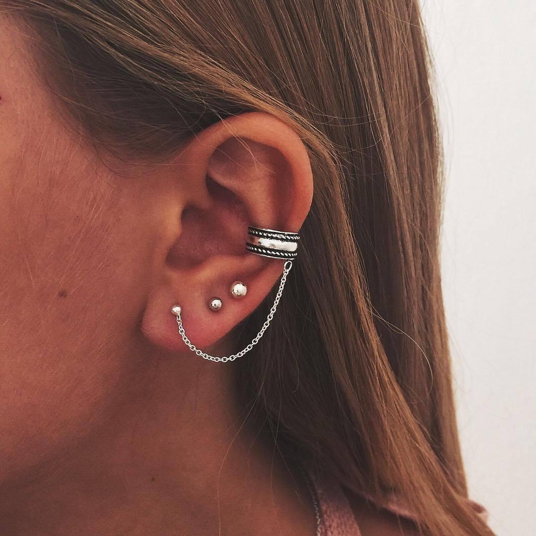Retro New Ear Stud Ear Clip Popular Simple Personality Ancient Tremella Clip Ear Stud Combination Set Women's New Ear Stud Set