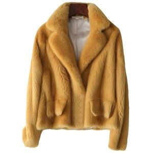 Image 5 - Zimowa skóra prawdziwe futro z norek moda damska krótkie futra z norek luksusowa wysokiej jakości ciepła gruba naturalna wąska bluza