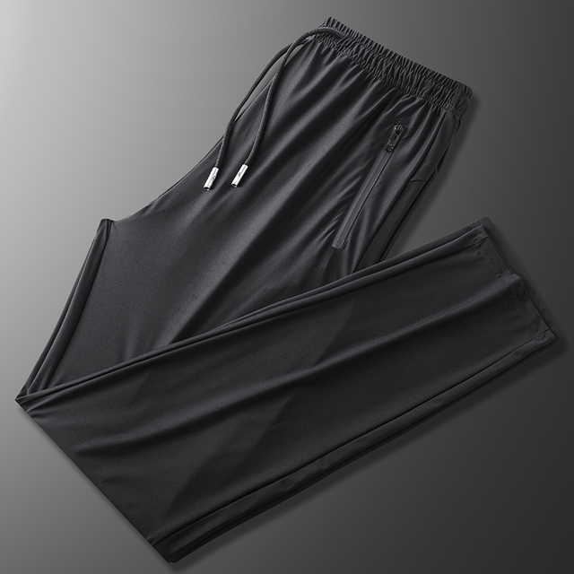Black Pants Men 7XL 8XL 9XL Plus Size Ice Silk Casual Lightweight Quick Dry Trousers Sport Elasticity Fitness Breathable Pant