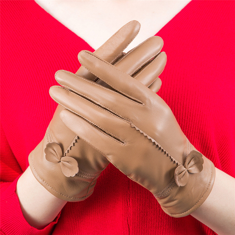 VISNXGI Cashmere Gloves Keep Warm PU Leather Woman Fashion Winter Sheepskin Splicing Bow Female Guante Hand Outdoor Hot Mittens