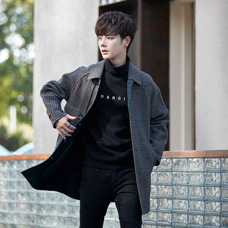 Модное мужское шерстяное пальто, пальто, осенне-зимняя куртка, шерстяной костюм для молодежи, шерстяное мужское пальто, лидер продаж