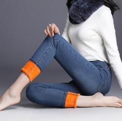 Плюс вельветовые джинсы женские с высокой талией 2019 зимние плотные теплые женские плюс размер тонкие Стрейчевые брюки PJJB-1-22