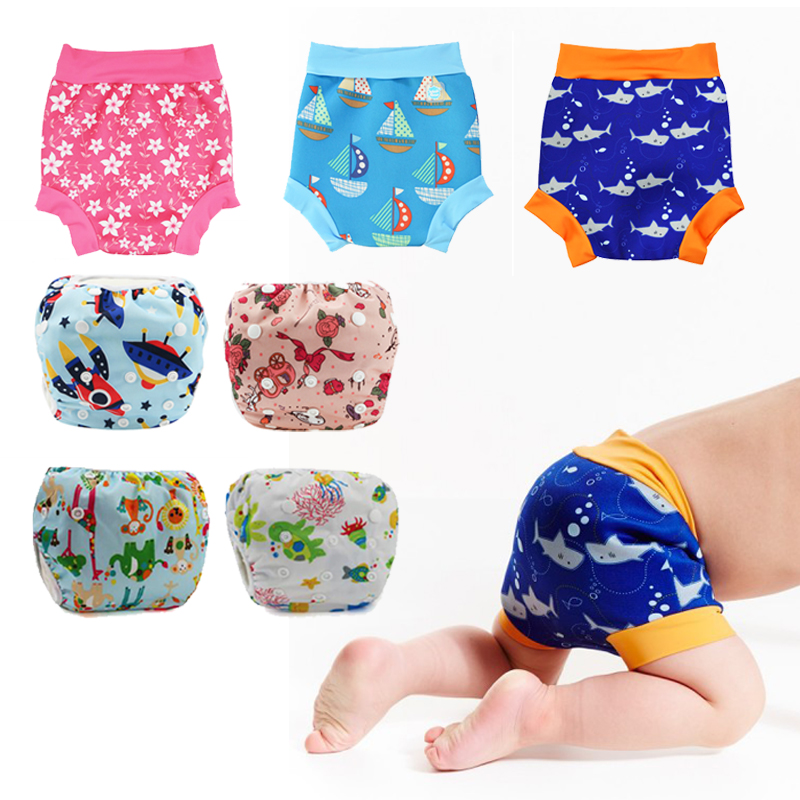 Pañales de natación a prueba de fugas para niños y recién nacidos, bañadores de cintura alta para bebés, pañales de tela estampado de dibujos animados para niños y niñas