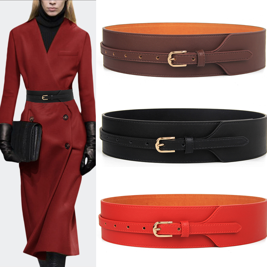 Wide Knotted Belt Female Black Design Windbreaker Women Belts Brown Leather Waistbands Simple Wild Belt Waist Tide Cummerbunds