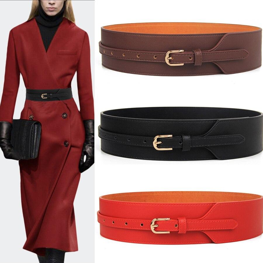 Wide Knotted   Belt   Female Black Design Windbreaker Women   Belts   Brown Leather Waistbands Simple Wild   Belt   Waist Tide Cummerbunds