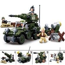 sluban 0686 347pcs military ww2 world war ii bt-7 tank building blocks 2 figures Toy 2 orders For Children