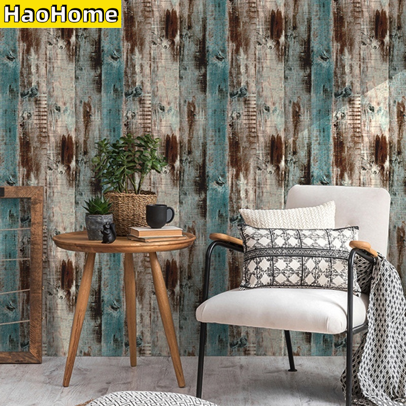 HaoHome Wood Peel and Stick Wallpaper Self-Adhesive Removable Wall Covering Decorative Vintage Wood Faux Vinyl Decal Roll