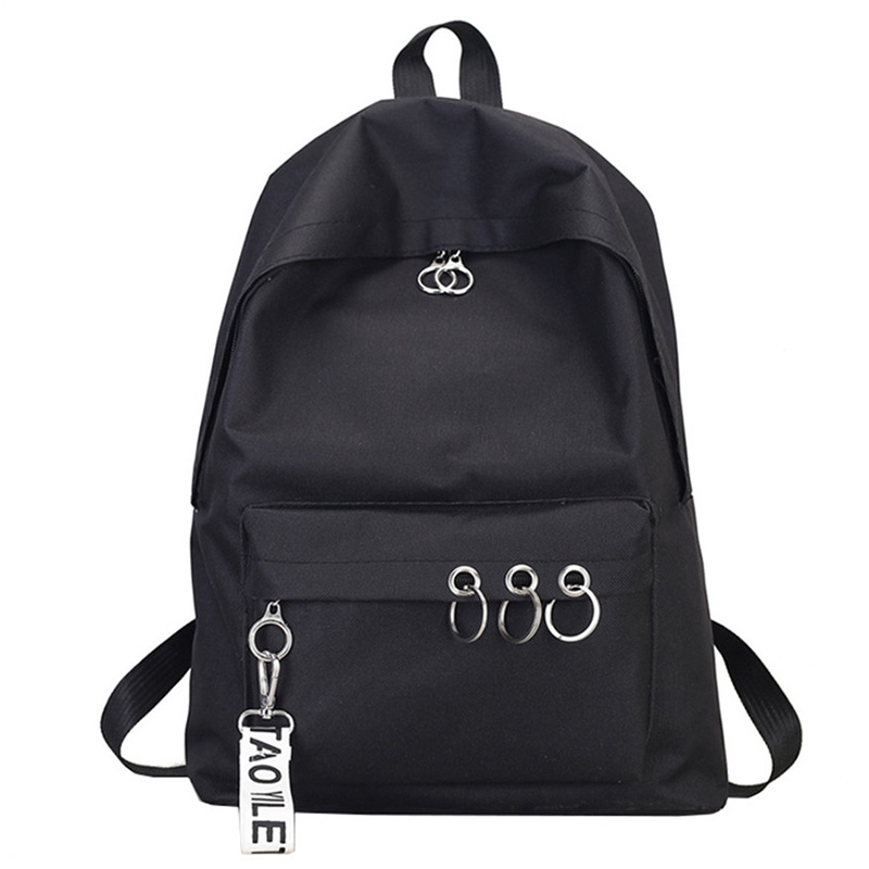 Simple Casual Backpack Solid Color Backpack Female Bag Canvas College Wind Backpack Black