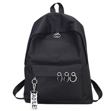 Simple Casual Backpack Solid Color Backpack Female Bag Canvas College