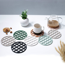 Kitchen Round Dining Table Mat Insulation Hot Pad Silicone Placemat Drink  Hollowing Out Fish Scale Flower Design Coasters