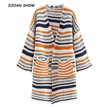 2019 New Flare Sleeve Knitting Colored Striped Cardigan Sweater Orange Women Autumn V neck Double pockets Jumper Loose Knitwear(China)